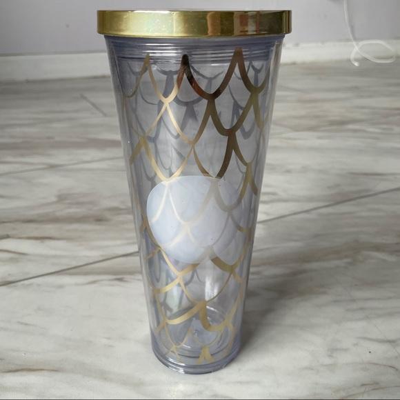 Starbucks golden mermaid scales clear tumbler 24oz